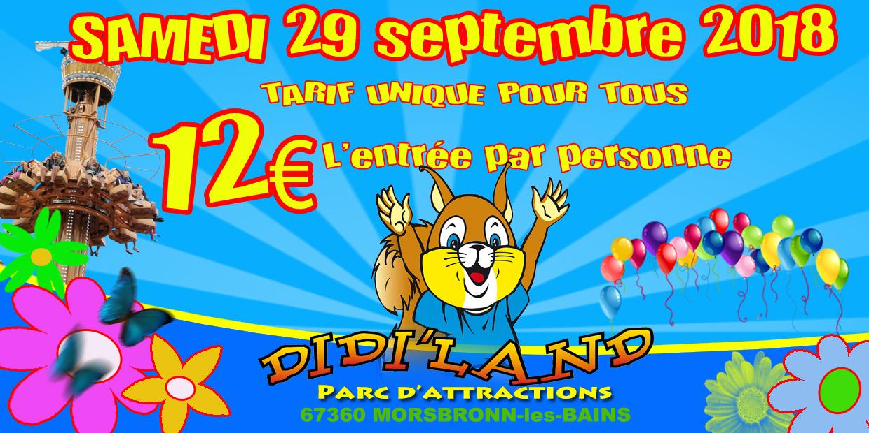 Samedi 29 septembre tarif unique 12€